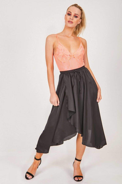 Black Satin Elasticated Midi Skirt - KATCH ME