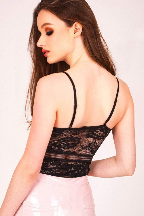 Black Satin Lace Bodysuit - KATCH ME