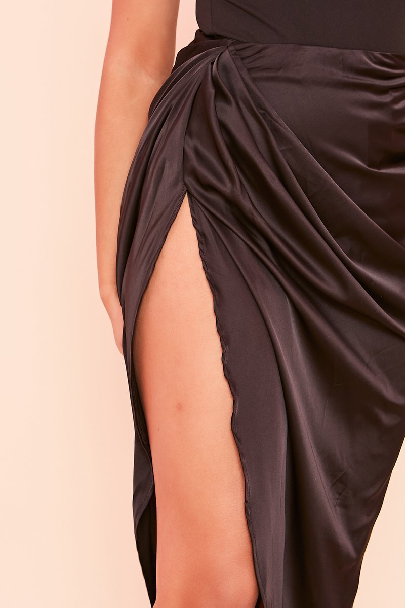 Black Satin Ruched Side Midi Skirt- Laeomi - KATCH ME