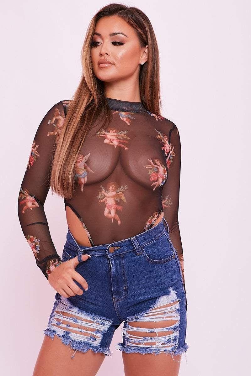 Black Sheer Mesh Angel Print Body - Lorelei - KATCH ME