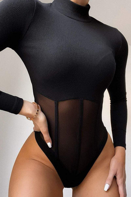 Black Ribbed Mock Neck Mesh Insert Crop Top