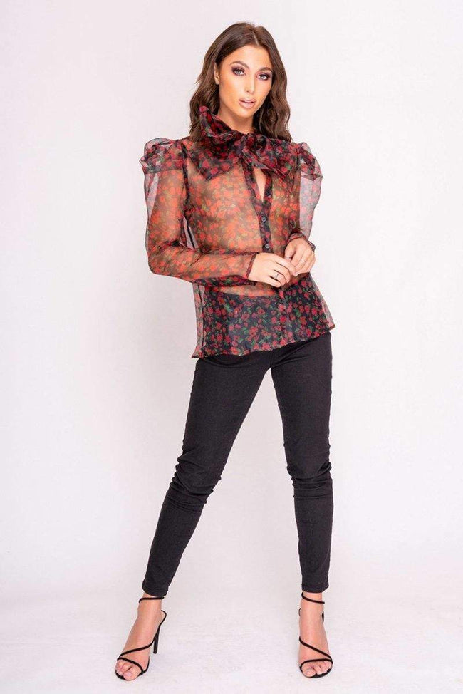 Black Sheer Rose Print Pussy Bow Blouse - KATCH ME