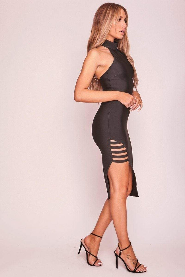 Black Side Split Bandage Dress - KATCH ME