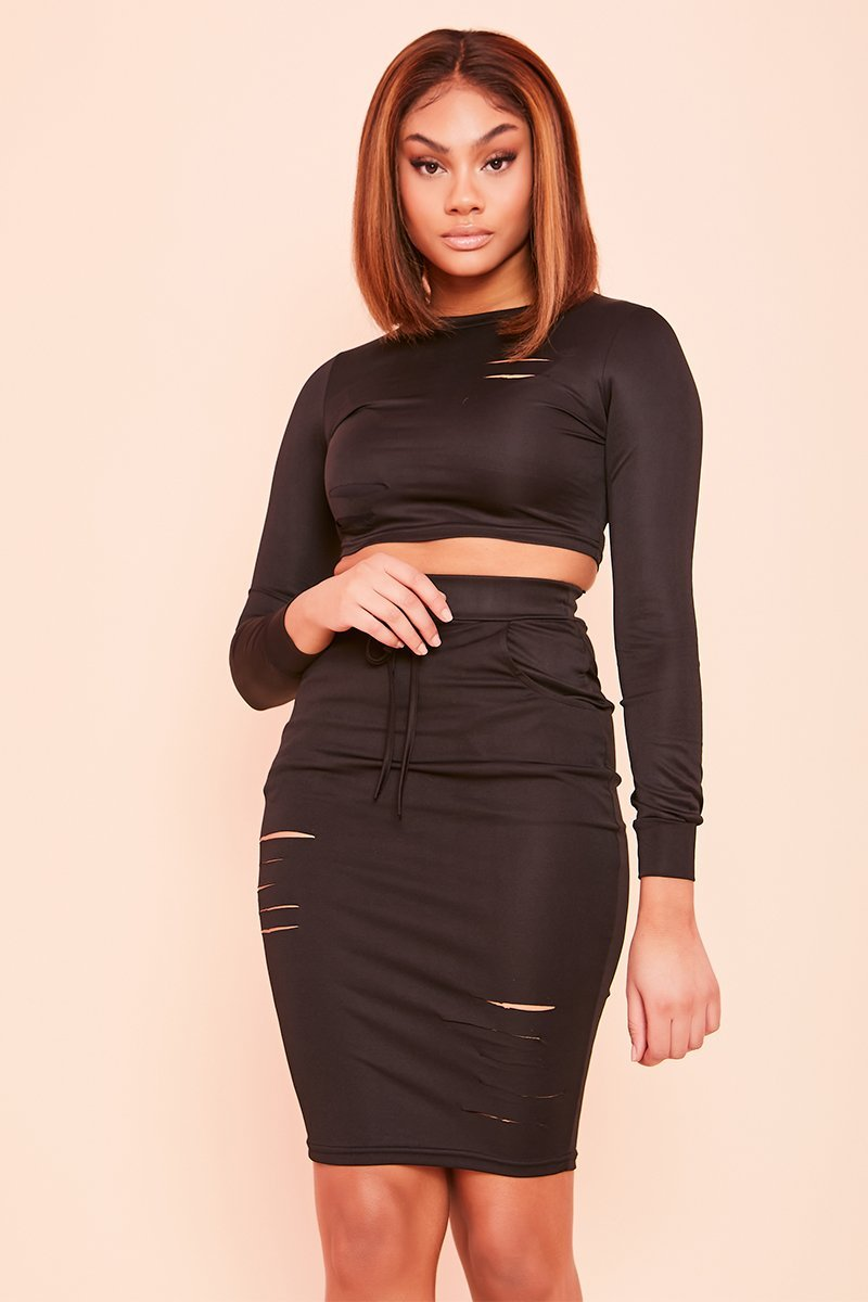 Black Slashed Crop Top- Bryony - KATCH ME