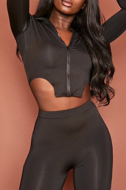Black Slinky Long Sleeve Co-Ord Set - Aviva - KATCH ME