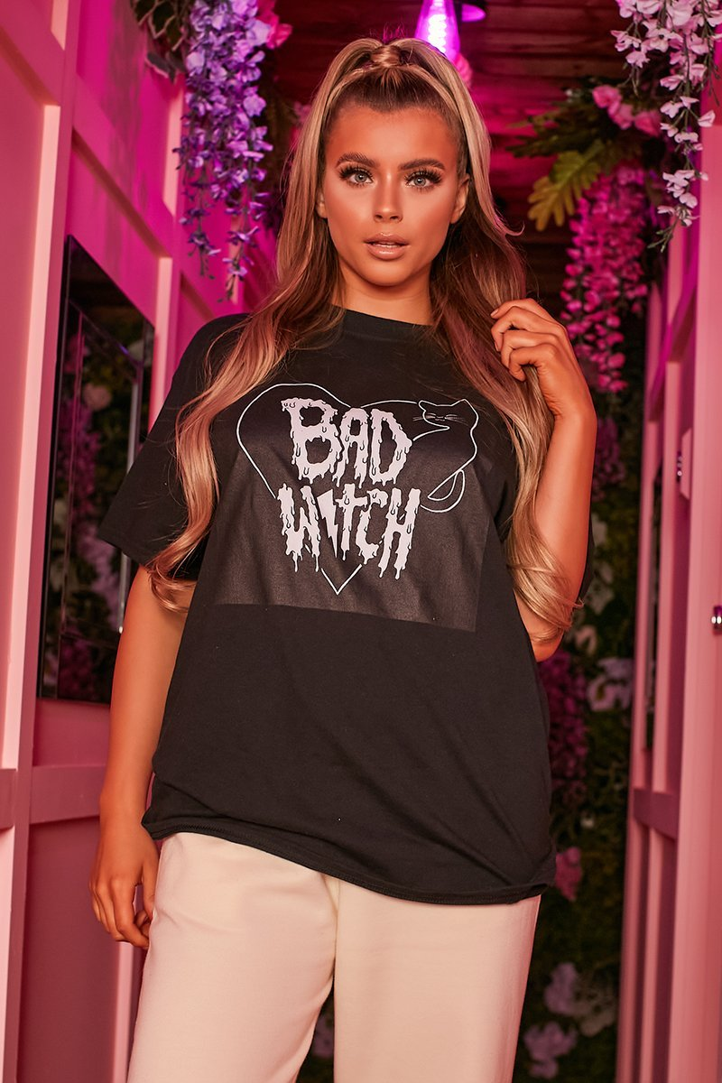 Black Slogan Print T-Shirt - Ola - KATCH ME