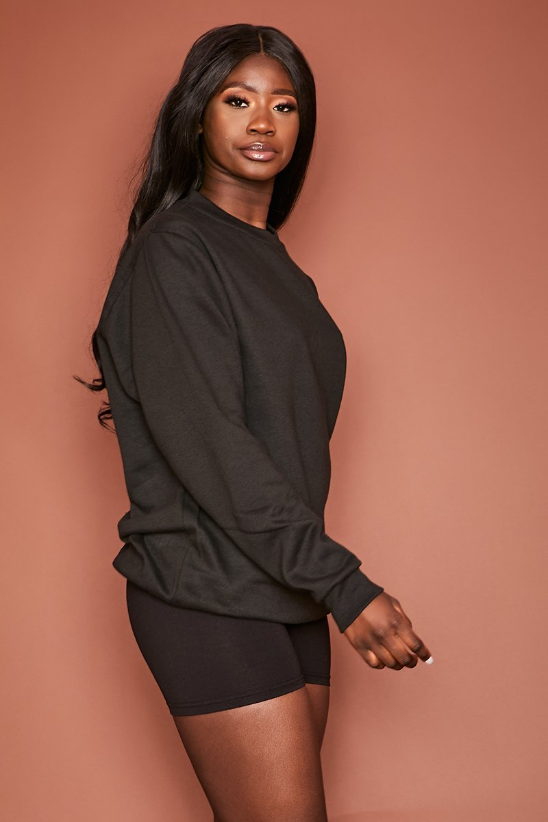 Black Slouch Oversized Jumper - Gillian - KATCH ME