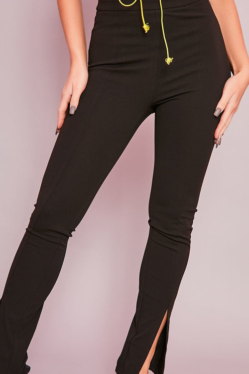 Black Stretch Flare Trousers - Ava - KATCH ME