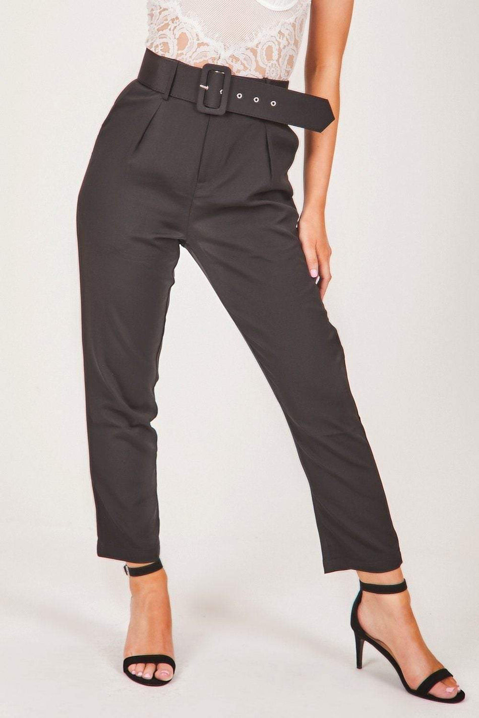 Black Tailored Belted Cigarette Trousers - KATCH ME