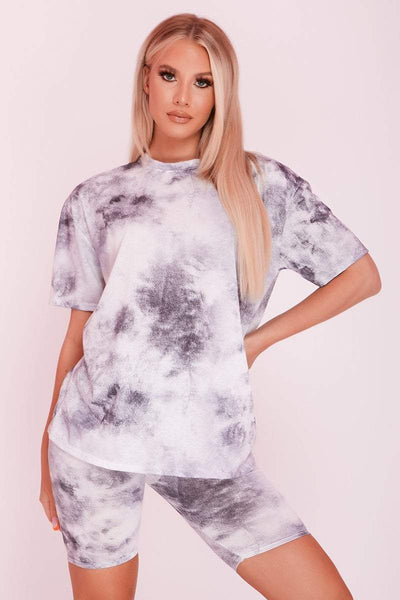 Black Tie Dye Oversized T-Shirt & Cycling Shorts Co-ord- Josephine - KATCH ME