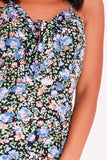 Black Tiered Ditsy Floral Print Mini Dress - KATCH ME