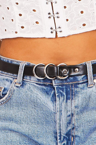 Black Triple Ring Belt - KATCH ME
