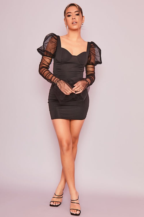 Black Tulle Sleeve Bodycon Mini Dress- Shorella - KATCH ME