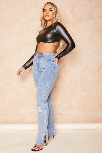 Black Vinyl Curved Hem Crop Top - Opal - KATCH ME