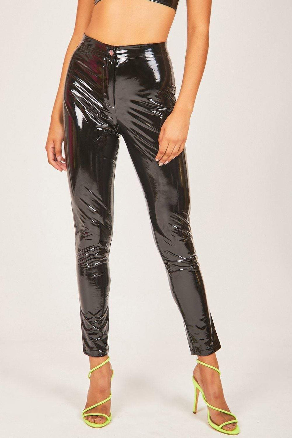 Black Vinyl Patent Leggings - KATCH ME