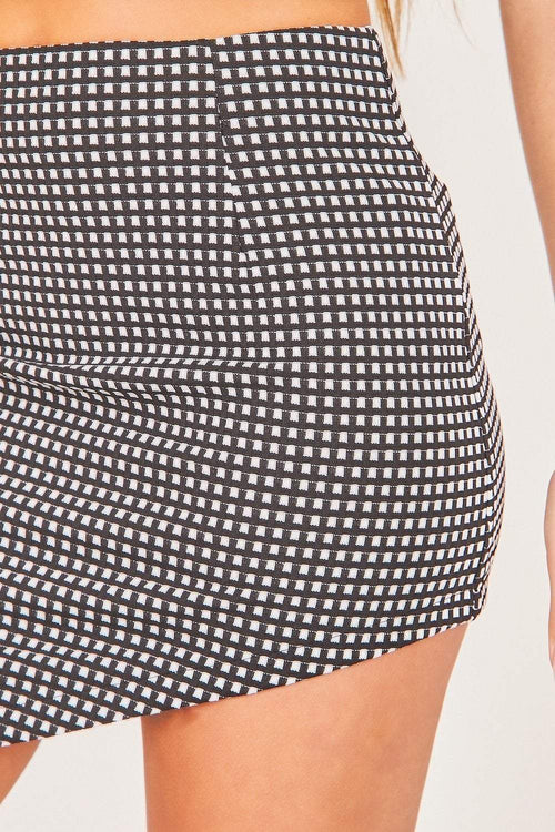 Black & White Asymmetric Check Skirt - KATCH ME
