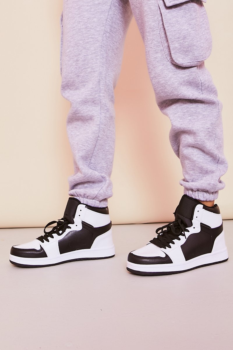 Black & White High Top Trainers- Sally - KATCH ME