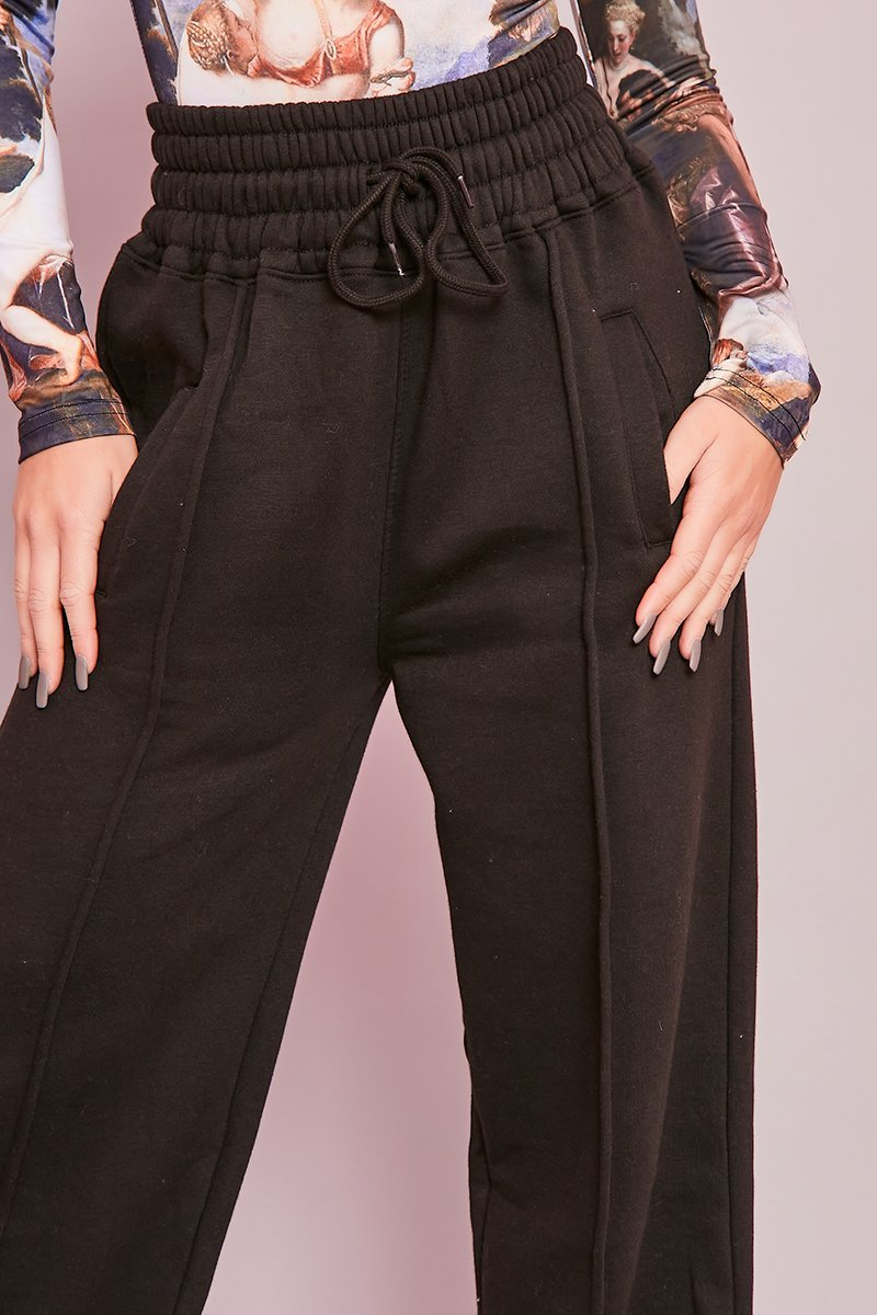Black Wide Leg Joggers - Brie - KATCH ME