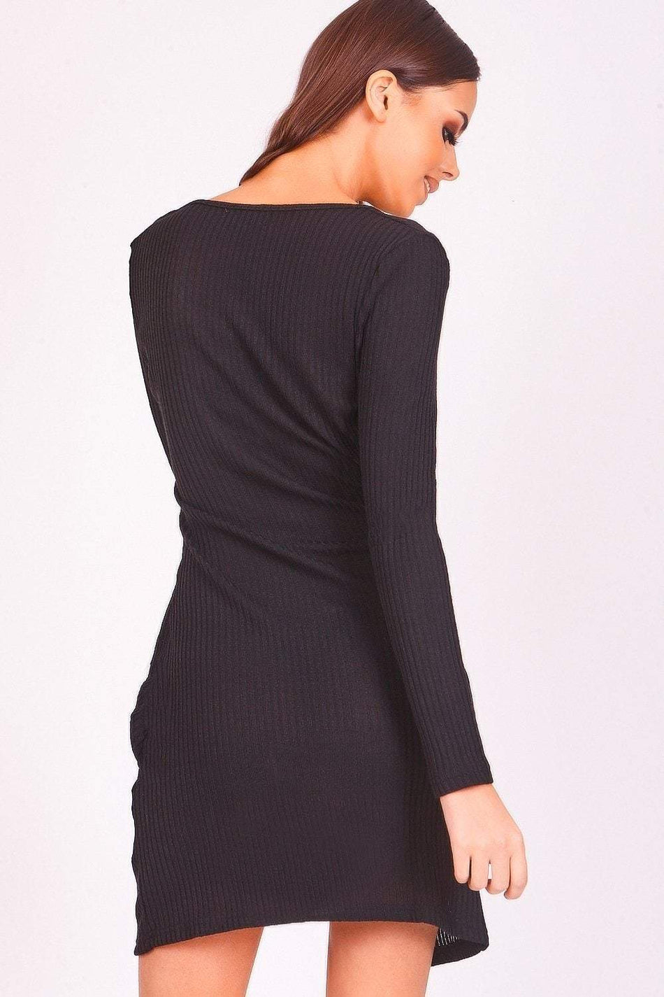 Black Wrap Front Ribbed Dress - KATCH ME