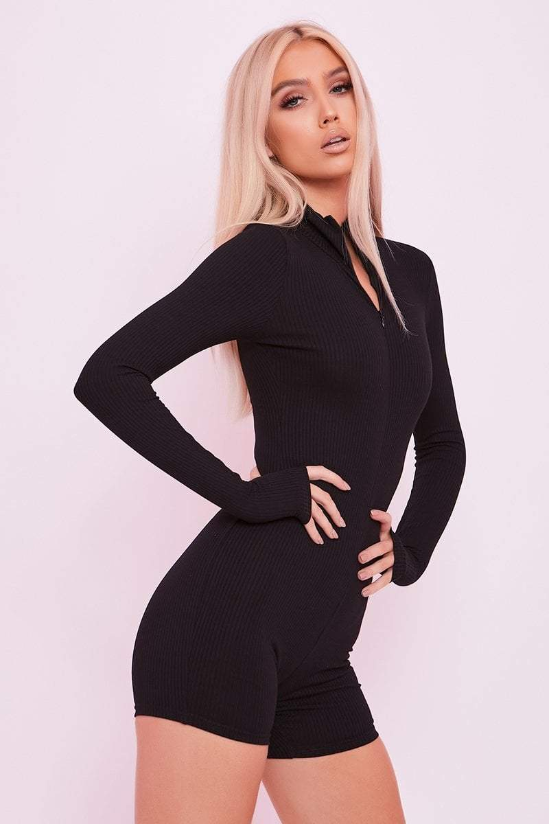 Black Zip Neck Unitard Playsuit - Odette - KATCH ME