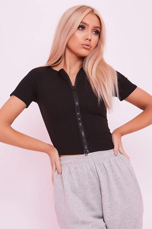 Black Zip Up Crop Top - Georgia - KATCH ME