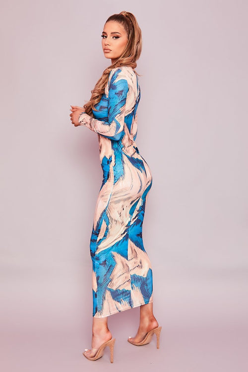 Blue Abstract Print Midaxi Dress- Glory - KATCH ME