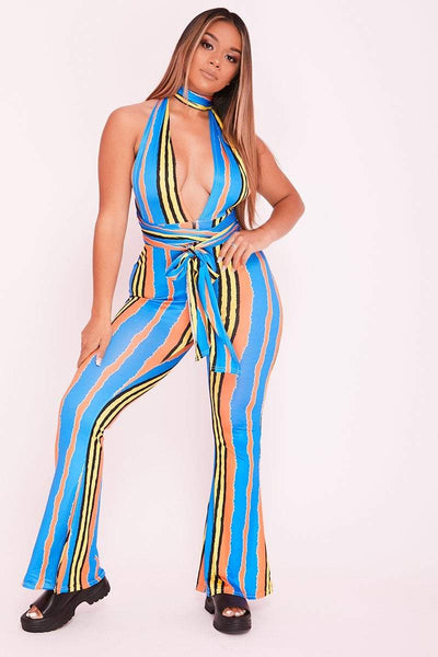 Blue Abstract Stripe Flared Open Back Plunge Jumpsuit- Gabriella - KATCH ME