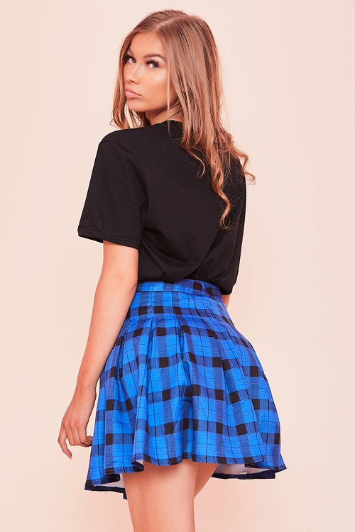Blue Check Pleated Mini Skirt- Estelle - KATCH ME