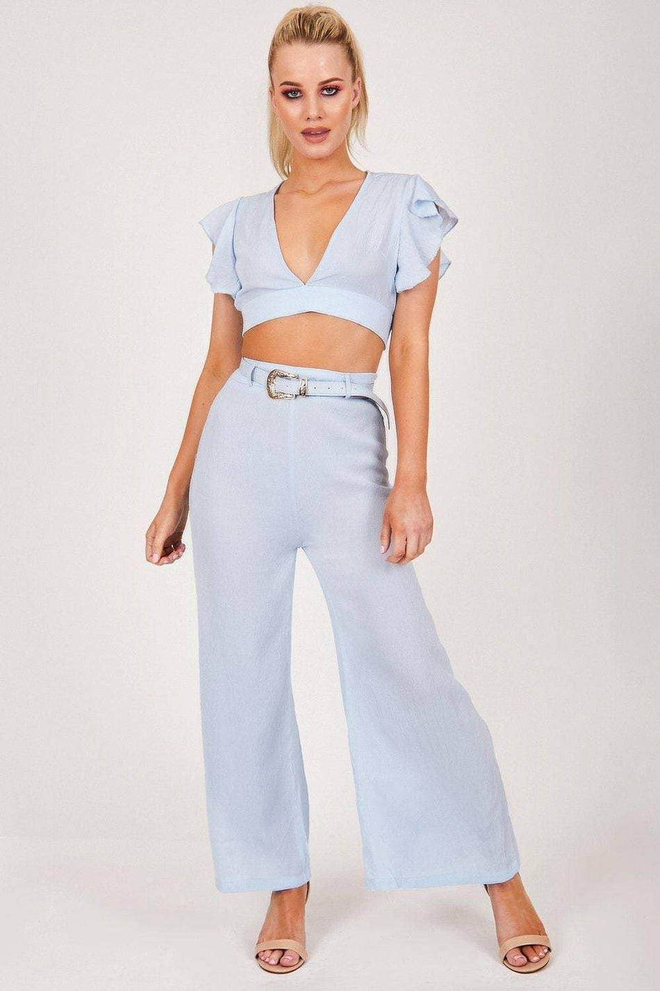 Blue Crepe Flare Co-ord - KATCH ME