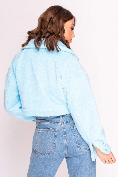 Blue Cropped Teddy Jacket - KATCH ME
