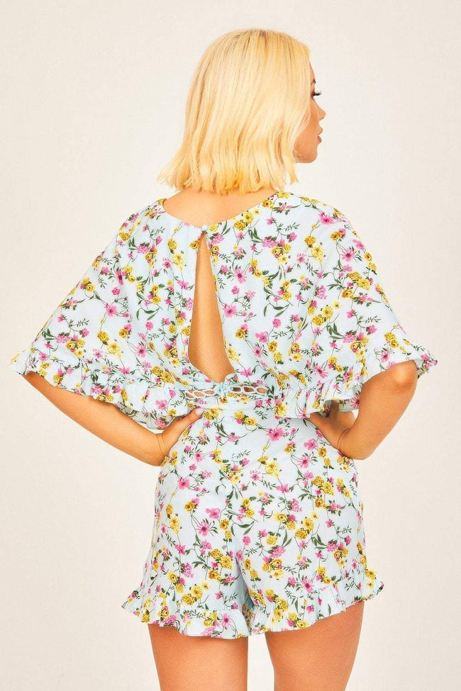 Blue Floral Frill Sleeve Playsuit - KATCH ME