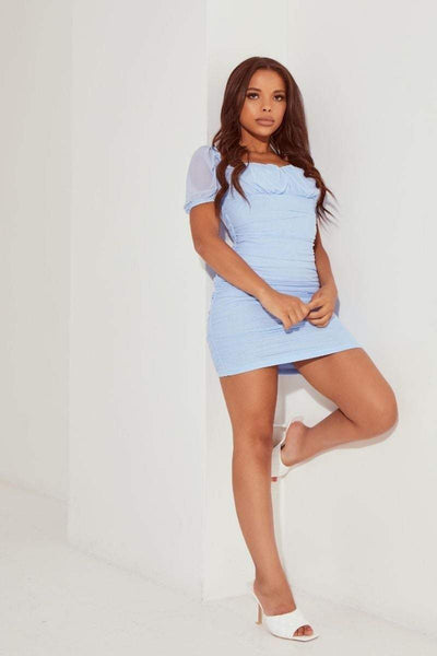 Blue Mesh Puff Sleeve Mini Dress - Abbie - KATCH ME