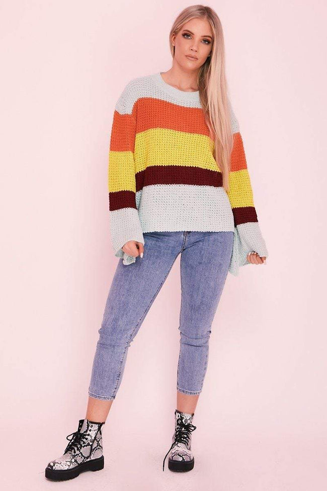 Blue Over Sized Striped Rainbow Jumper - KATCH ME