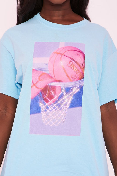 Blue Oversized Basketball Graphic Tee - Brea - KATCH ME