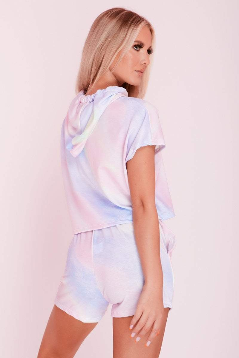 Blue Pastel Tie Dye Hooded Sweat Top & Shorts Co-ord- Allison - KATCH ME