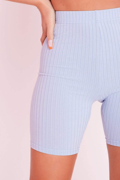 Blue Ribbed Cycling Shorts & Crop Top Sports Co-ord- Delilah - KATCH ME