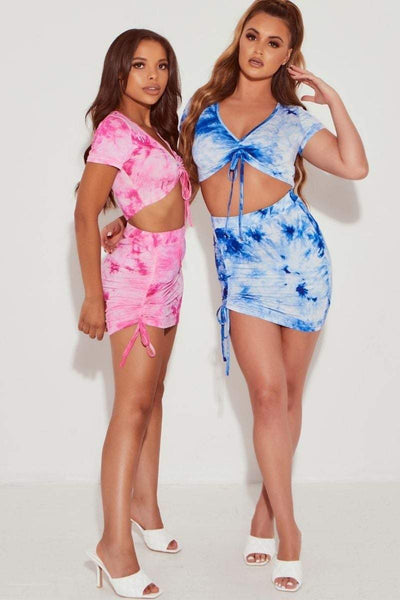 Blue Slinky Tie Dye Ruched Mini Skirt- Coleen - KATCH ME