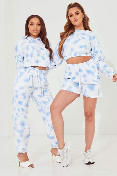 Blue Tie Dye High Waisted Sweat Shorts - Court - KATCH ME