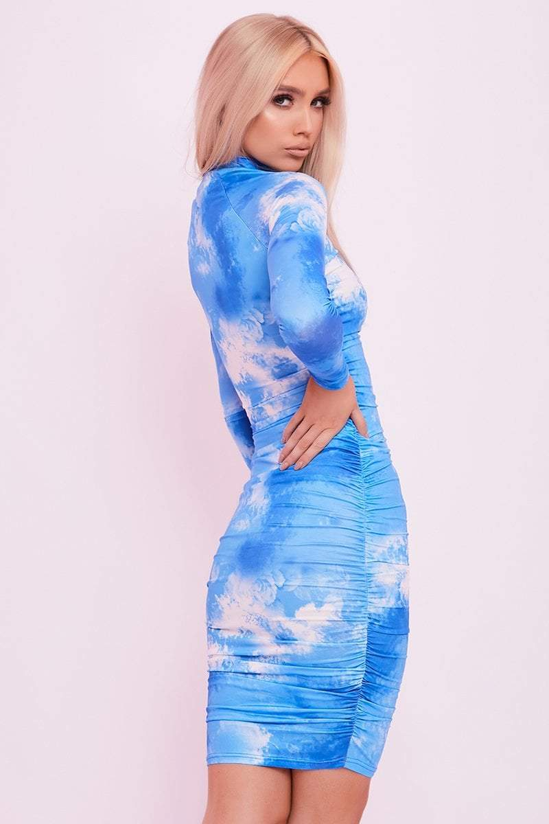 Blue Tie Dye Ruched Midaxi Dress- Sharna - KATCH ME