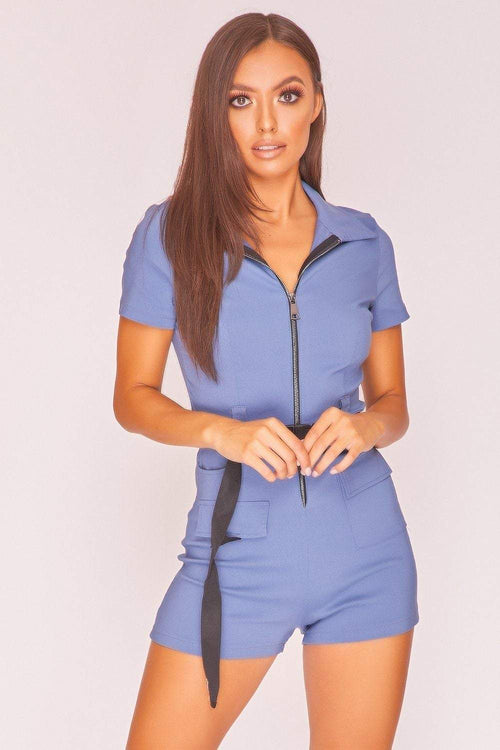 Blue Zip Front Belted Utility Playsuit - KATCH ME