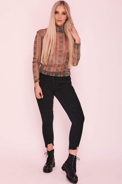 Brown And Red Tartan Check Mesh Top - KATCH ME