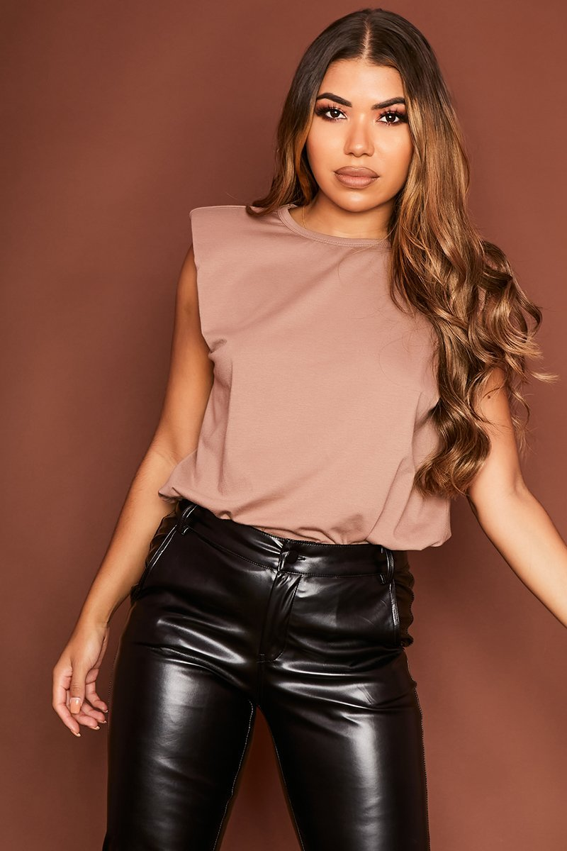 Brown Boxy Shoulder Pad Tank - Rea - KATCH ME