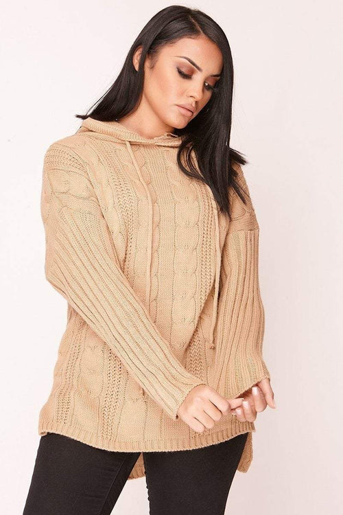 Brown Cable Knit Hooded Jumper - KATCH ME