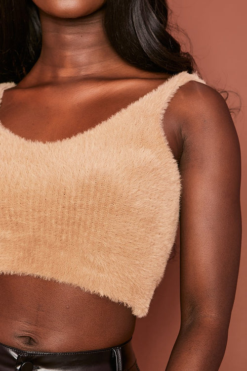 Brown Fluffy Crop Top - Tabitha - KATCH ME