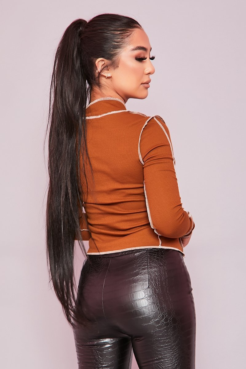 Brown Ribbed Exposed Seam Crop Top - Pansy - KATCH ME