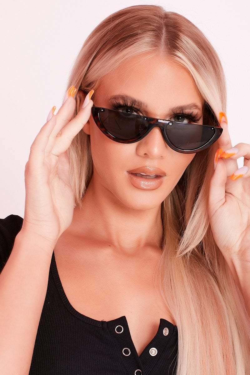 Brown Tortoise Shell Half Lens Sunglasses- Lily - KATCH ME