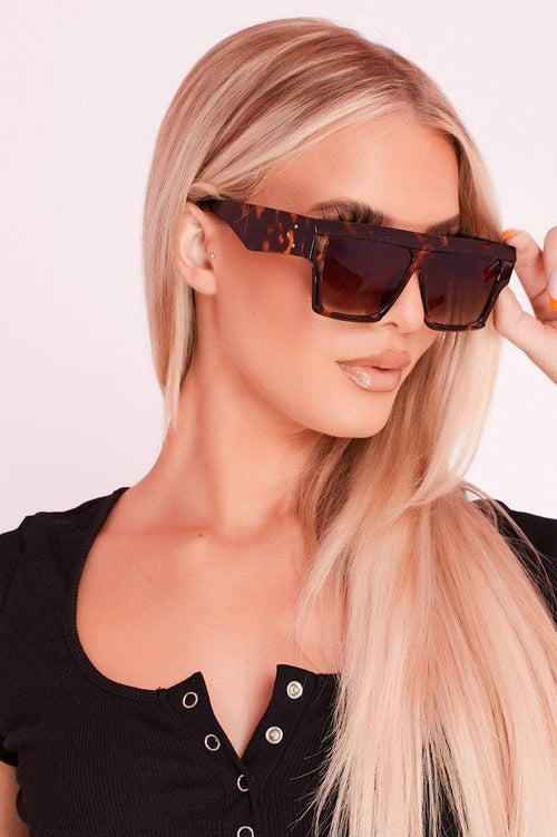 Brown Tortoise Shell Large Square Sunglasses- Aubrey - KATCH ME