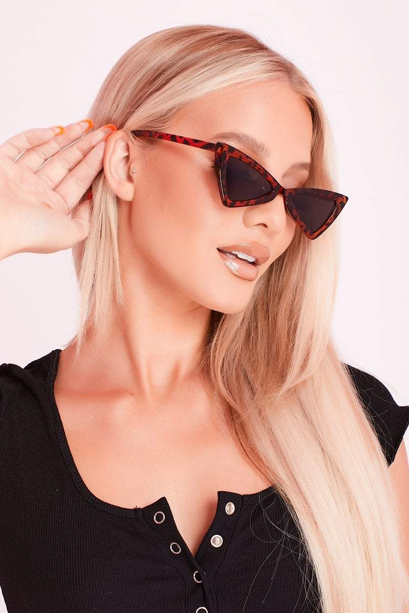 Brown Tortoise Shell Triangular Sunglasses- Nora - KATCH ME