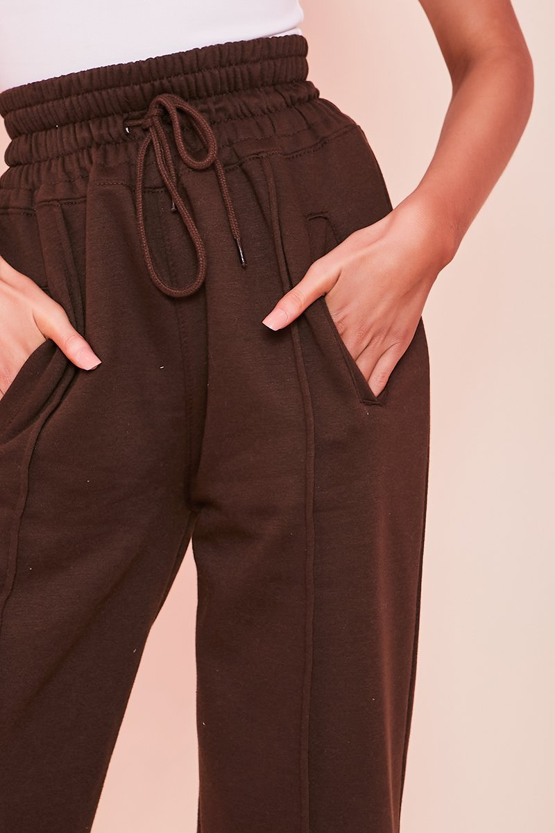 Brown Wide Leg Joggers - Brie - KATCH ME