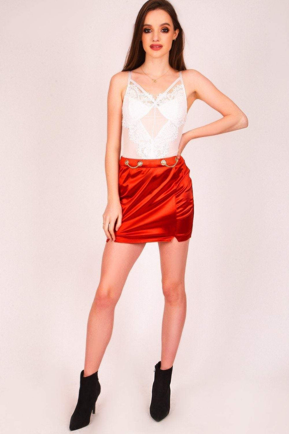 Burnt Orange Chain Detail Mini Skirt - KATCH ME